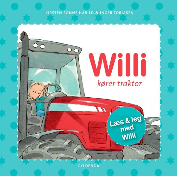 Bogforside Willi kører traktor