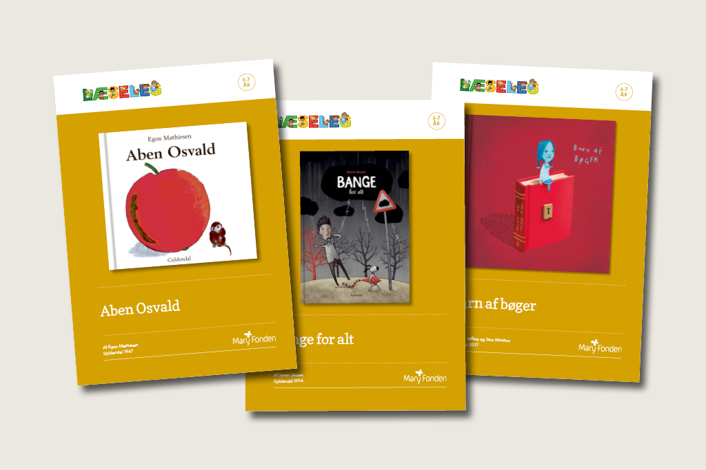 tre LæseLeg-boghæfter.