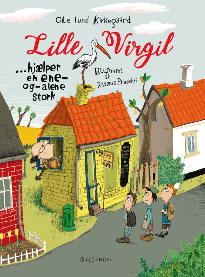 Bogforside - Lille Virgil hjælper en ene og alene stork